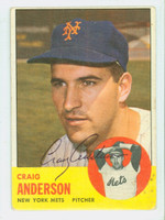 Craig Anderson AUTOGRAPH 1963 Topps #59 Mets CARD IS G/VG, LT SURF WEAR; AUTO CLEAN  [SKU:AndeC2442_T63BBC]