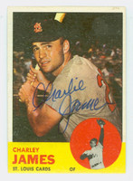 Charley James AUTOGRAPH 1963 Topps #83 Cardinals CARD IS CLEAN EX  [SKU:JameC708_T63BBC]