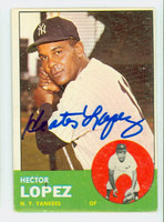 Hector Lopez AUTOGRAPH 1963 Topps #92 Yankees CARD IS VG/EX; AUTO CLEAN  [SKU:LopeH698_T63BBC]