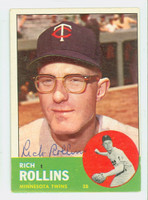 Rich Rollins AUTOGRAPH 1963 Topps #110 Twins CARD IS VG/EX; OC S/S; AUTO CLEAN  [SKU:RollR1707_T63BBC]