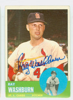 Ray Washburn AUTOGRAPH 1963 Topps #206 Cardinals CARD IS VG; CRN DING; AUTO CLEAN