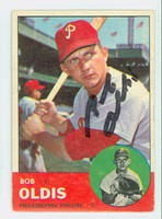 Bob Oldis AUTOGRAPH 1963 Topps #404 Phillies CARD IS VG, CRN WEAR; AUTO CLEAN  [SKU:OldiB350_T63BBC]