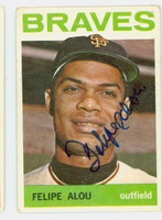 Felipe Alou AUTOGRAPH 1964 Topps #65 Braves CARD IS G/VG; LT CREASES, AUTO CLEAN, MARK ON REV
