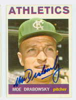 Moe Drabowsky AUTOGRAPH d.06 1964 Topps #42 Athletics CARD IS F/G; HEAVY CREASE
