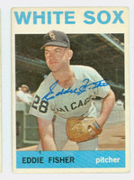 Eddie Fisher AUTOGRAPH 1964 Topps #66 White Sox CARD IS G/VG; RND CRN, AUTO CLEAN
