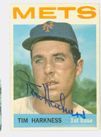 Tim Harkness AUTOGRAPH 1964 Topps #57 Mets CARD IS VG; AUTO CLEAN