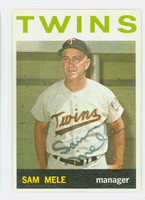 Sam Mele AUTOGRAPH D.171964 Topps #54 Twins CARD IS VG/EX; AUTO CLEAN