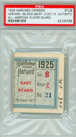 1925 Harvard Crimson Ticket Stub vs Middlebury  - October 10, 1925 PSA/DNA Authentic