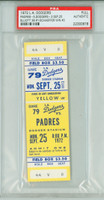 1972 Los Angeles Dodgers Full Ticket vs San Diego Padres Schaeffer Win #2 - September 25, 1972 PSA/DNA Authentic