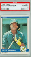 1984 Fleer Baseball 447 Rickey Henderson Oakland Athletics PSA 10 Gem Mint