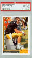 1991 Upper Deck Football 13 Brett Favre Atlanta Falcons PSA 10 Gem Mint