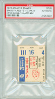1972 Atlanta Braves Ticket Stub vs Cincinnati Reds Hank Aaron HR #641 Darrell Evans HR #15  - April 23, 1972 PSA/DNA Authentic