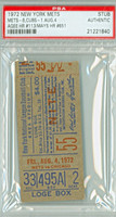 1972 New York Mets Ticket Stub vs Chicago Cubs Willie Mays HR #651 Tommie Agee HR #113  - August 4, 1972 PSA/DNA Authentic