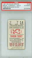 1961 Milwaukee Braves Ticket Stub vs St. Louis Cardinals Hank Aaron HR #253 Joe Torre 2B #20  - September 25, 1961 PSA/DNA Authentic