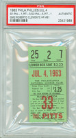1963 Philadelphia Phillies Ticket Stub vs Pittsburgh Pirates Roberto Clemente HR #81 - July 4, 1963 PSA/DNA Authentic