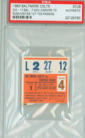 1963 Baltimore Colts Ticket Stub vs Chicago Bears Johnny Unitas 127 Yds Passing - November 3, 1963 PSA/DNA Authentic