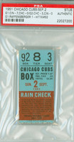 1951 Chicago Cubs Ticket Stub vs Cincinnati Reds Ken Raffensberger Win #92 - September 2, 1951 PSA/DNA Authentic