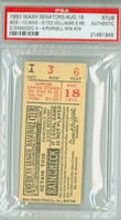 1951 Washington Senators Ticket Stub vs Boston Red Sox Ted Williams 5 RBI Mel Parnell Win #74  - August 18, 1951 PSA/DNA Authentic