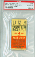 1952 Chicago Cubs Ticket Stub vs New York Giants Hoyt Wilhelm Win #3 - May 4, 1952 PSA/DNA Authentic