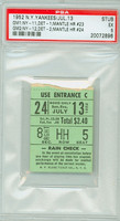 1952 New York Yankees Ticket Stub vs Detroit Tigers Mickey Mantle 2 Home Runs #23-#24 - July 13, 1952 Excellent
