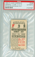 1955 St Louis Cardinals Ticket Stub vs Chicago Cubs Stan Musial HR #311 Hank Sauer HR #240  - July 10, 1955 PSA/DNA Authentic