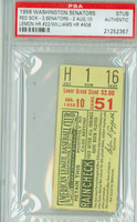1956 Washington Senators Ticket Stub vs Boston Red Sox Ted Williams HR #408 Jim Lemon HR #22  - August 10, 1956 PSA/DNA Authentic