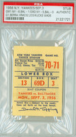 1956 New York Yankees Ticket Stub vs Baltimore Orioles Yogi Berra HR #232-#233 - September 3, 1956 PSA/DNA Authentic