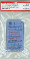 1960 Milwaukee Braves Ticket Stub vs Los Angeles Dodgers Don Drysdale Win #65, SHO #14 - September 11, 1960 PSA/DNA Authentic