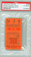 1962 Philadelphia Phillies Ticket Stub vs Houston Colt 45s Dallas Green Win #7 Roman Mejias HR #36  - June 25, 1962 PSA/DNA Authentic