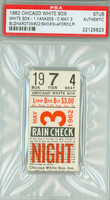 1962 Chicago White Sox Ticket Stub vs New York Yankees John Buzhardt Win #22 - May 3, 1962 PSA/DNA Authentic