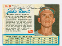 Jackie Brandt AUTOGRAPH 1962 Post #31 Orioles CARD IS F/P; SL PAPER LOSS, AUTO CLEAN