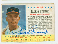 Jackie Brandt AUTOGRAPH 1963 Post #58 Orioles CARD IS F/G, CREASE, AUTO CLEAN
