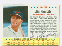 Jim Gentile AUTOGRAPH 1963 Post #57 Orioles CARD IS CLEAN EX