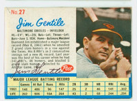 Jim Gentile AUTOGRAPH 1962 Post #27 Orioles BALT CARD IS VG/EX; AUTO CLEAN