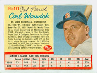 Carl Warwick AUTOGRAPH 1962 Post #161 Cardinals CARD IS F/G; CREASES