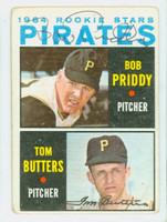 Bob Priddy DUAL SIGNED 1964 Topps #74 Pirates Rookies CARD IS F/G; CRN WEAR, AUTOS CLEAN
