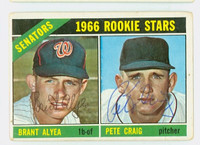 Brant Alyea DUAL SIGNED 1966 Topps #11 Senators Rookies CARD IS G/VG; CRN WEAR, AUTO CLEAN
