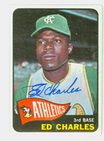 Ed Charles AUTOGRAPH 1965 Topps Athletics CARD IS VG/EX; AUTO CLEAN
