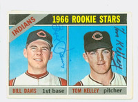 Tom Kelley DUAL SIGNED d.15 1966 Topps #44 Indians Rookies CARD IS G/VG; CRN WEAR, AUTO CLEAN