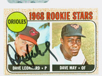 Dave Leonhard AUTOGRAPH 1968 Topps #56 Orioles ROOKIE CARD IS VG/EX; AUTO CLEAN  [SKU:LeonD1726_T68BBk]