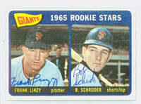Frank  Linzy DUAL SIGNED 1965 Topps #589 Giants Rookies HIGH NUMBER CARD IS CLEAN EX  [SKU:LinzF1543_T65BBDRk]