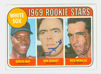 Morales-Secrist DUAL SIGNED 1969 Topps #654 White Sox Rookies CARD IS F/P; HEAVY CREASE  [SKU:MoraR1555_T69BBDRk]
