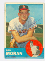Billy Moran AUTOGRAPH 1963 Topps #57 Angels CARD IS F/G, SURF WEAR; CREASE, AUTO CLEAN