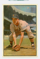 Johnny Pesky AUTOGRAPH d.12 1953 Bowman Color #134 Tigers HIGH NUMBER CARD IS F/G; AUTO CLEAN