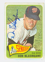 Don Blasingame AUTOGRAPH d.05 1965 Topps #21 Senators CARD IS G/VG; CRN WEAR, AUTO CLEAN