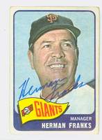 Herman Franks AUTOGRAPH d.09 1965 Topps #32 Giants CARD IS G/VG; CRN WEAR, AUTO CLEAN