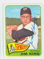Jim King AUTOGRAPH d.15 1965 Topps #38 Senators CARD IS VG/EX; AUTO CLEAN