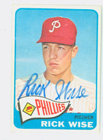Rick Wise AUTOGRAPH 1965 Topps #322 Phillies CARD IS G/VG; LT CREASE, AUTO CLEAN  [SKU:WiseR1667_T65BBC]