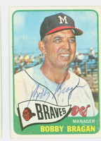 Bobby Bragan AUTOGRAPH d.10 1965 Topps #346 Braves CARD IS G/VG; LT STAIN