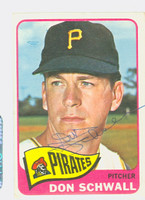 Don Schwall AUTOGRAPH 1965 Topps #362 Pirates CARD IS CLEAN EX  [SKU:SchwD1268_T65BBC]